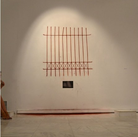 "Alma Bakiaj, It's been a long time but that day seems much longer to me, approx.140x110cm, double tap on wall, hagiography dust, marble bases, digital photograph, Inspire Festival 2012 ""The world is not enough"", Macedonian Museum of Contemporary Art_Thessaloniki_Greece (The work was made on the wall of the Museum. After the exhibition it was destroyed)"